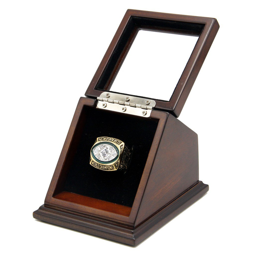New York Jets 1968 SB III Replica Championship Fan Rings with Wooden display Case Size 11