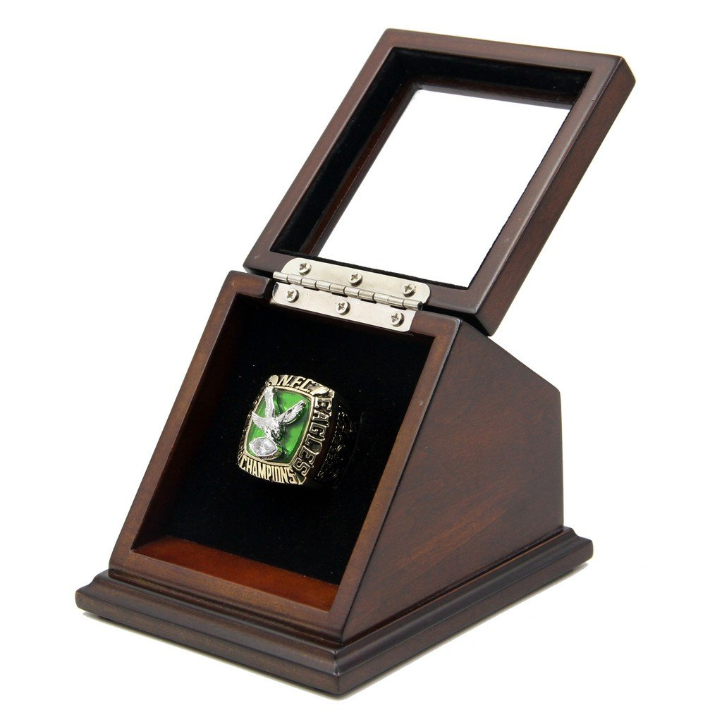 NFC 1980 Philadelphia Eagles Super Bowl Replica Championship Rings with Wooden display Case