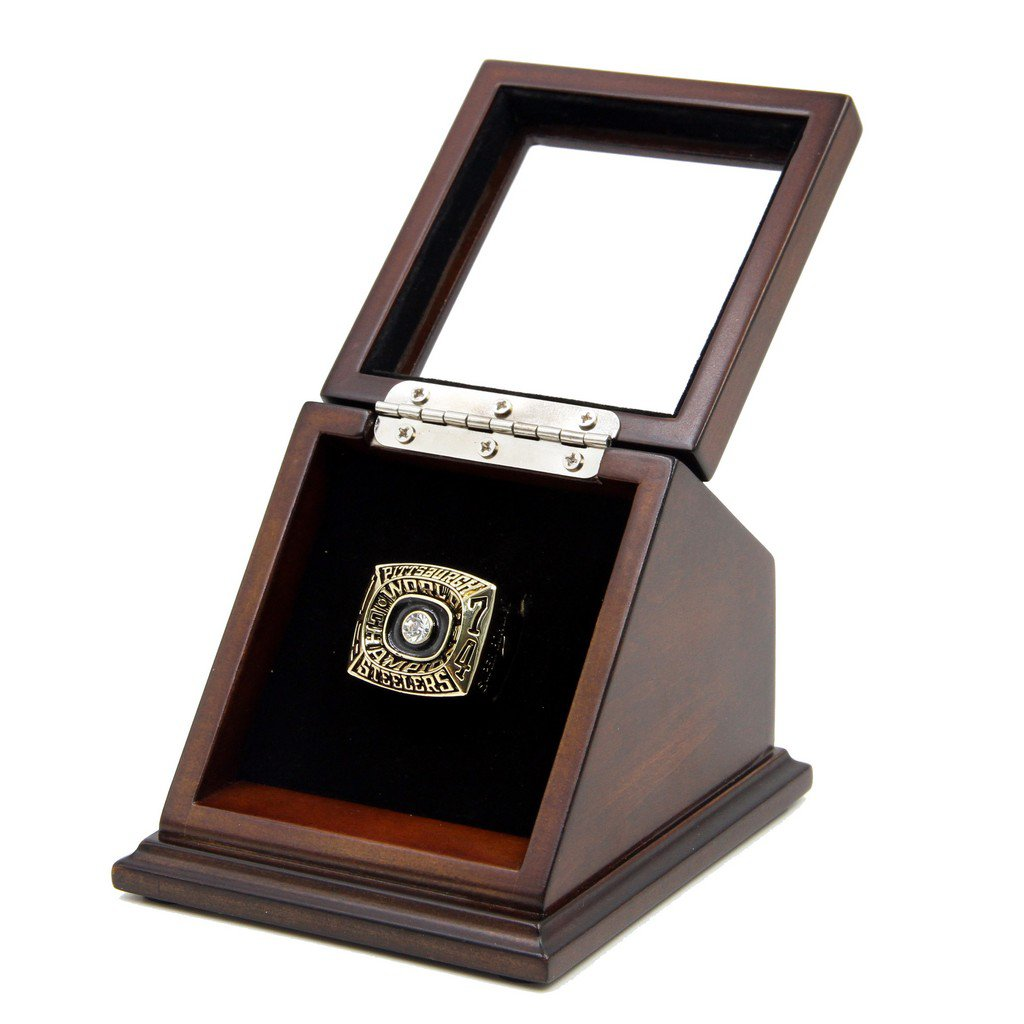N-F-L 1974 Pittsburgh Steelers Super Bowl IX Replica Championship Rings with Wooden display Case