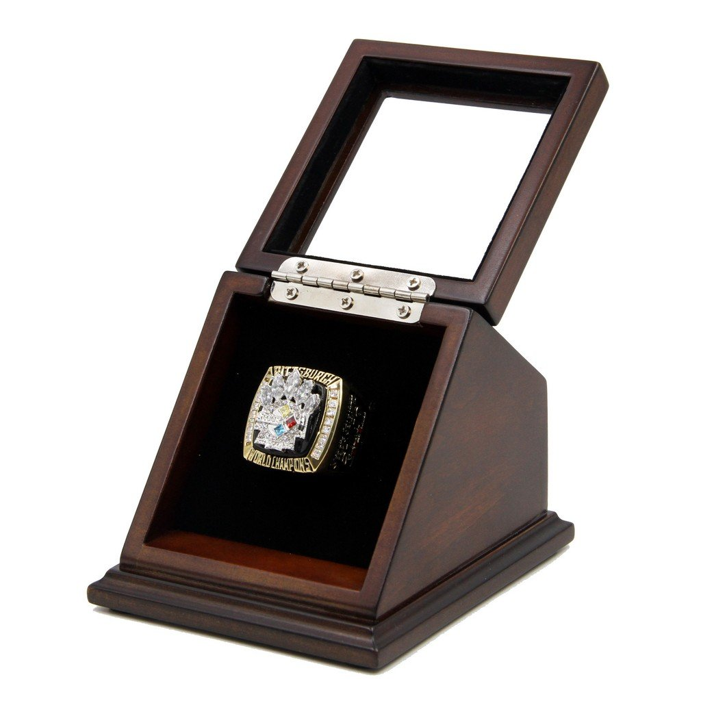 N-F-L 20 05 Pittsburgh Steelers Super Bowl XL Replica Championship Rings with Wooden display Case