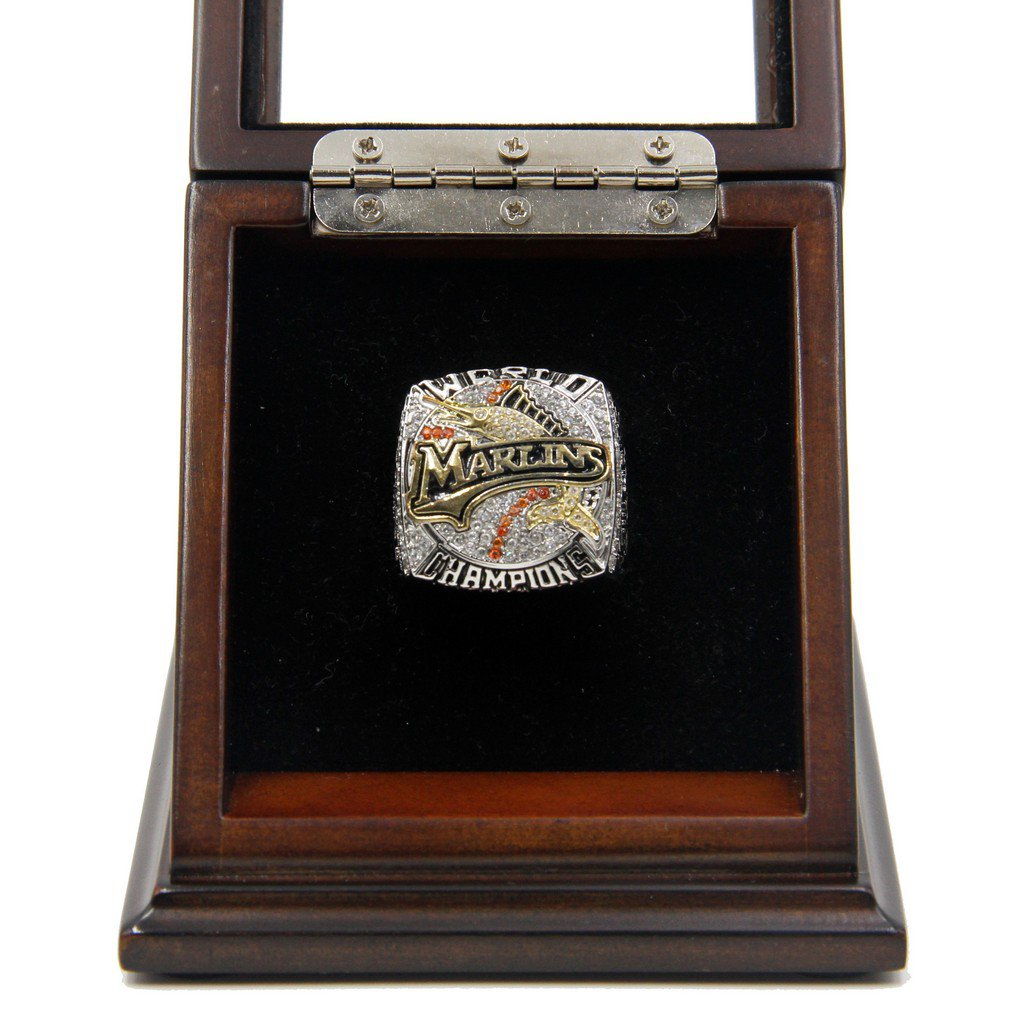 M-L-B 2003 Florida Marlins World Series Replica Championship Rings with Wooden display Case
