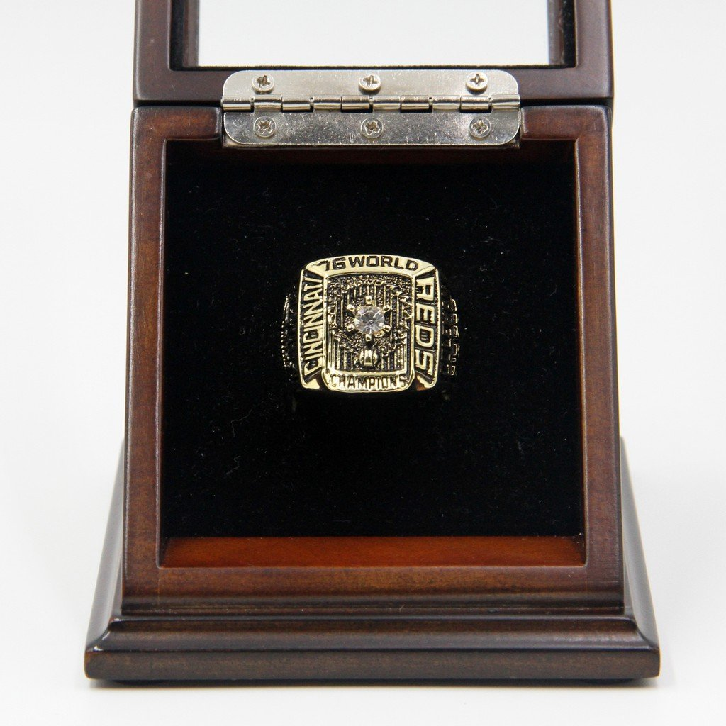 M-L-B 1976 Cincinnati Reds World Series Replica Championship Rings with Wooden display Case