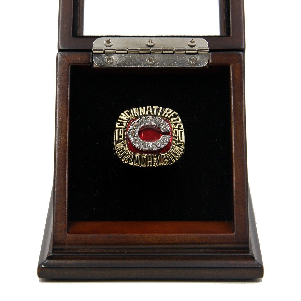 M-L-B 1990 Cincinnati Reds World Series Replica Championship Rings with Wooden display Case
