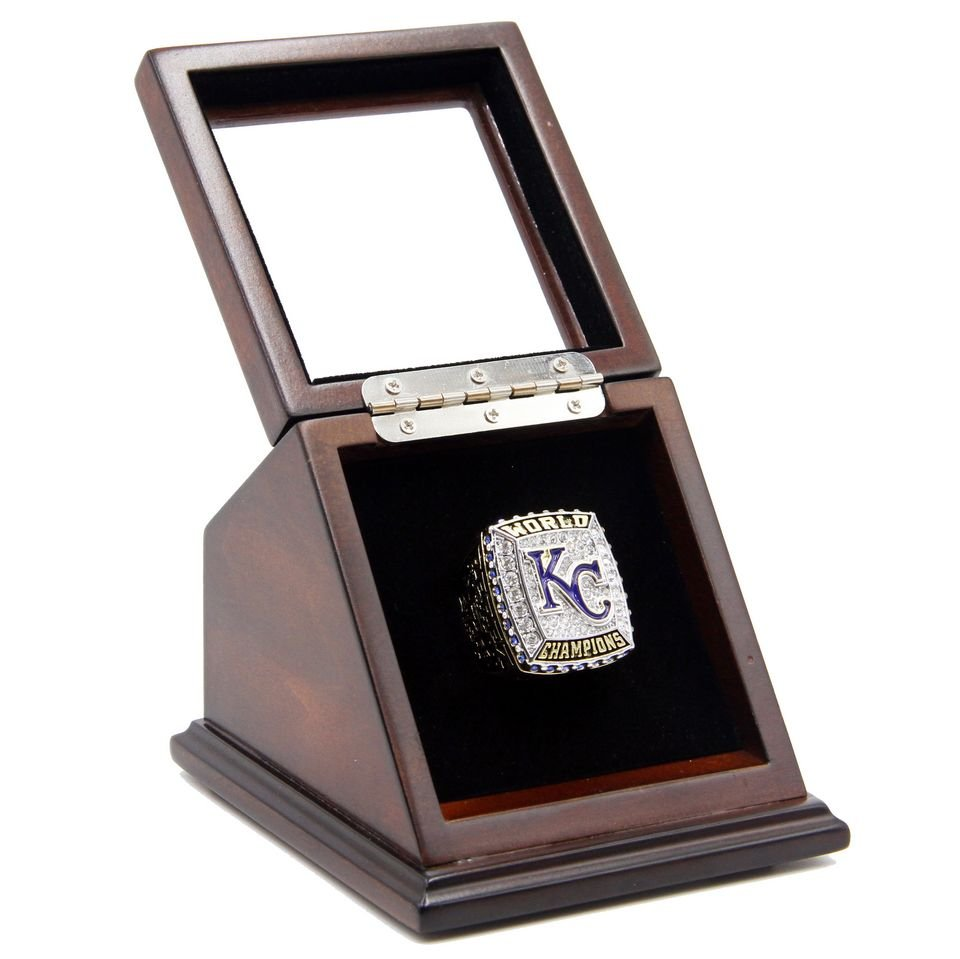 2015 KC Kansas City Royals Championship Ring with Wooden display Case Size 11 - Perez