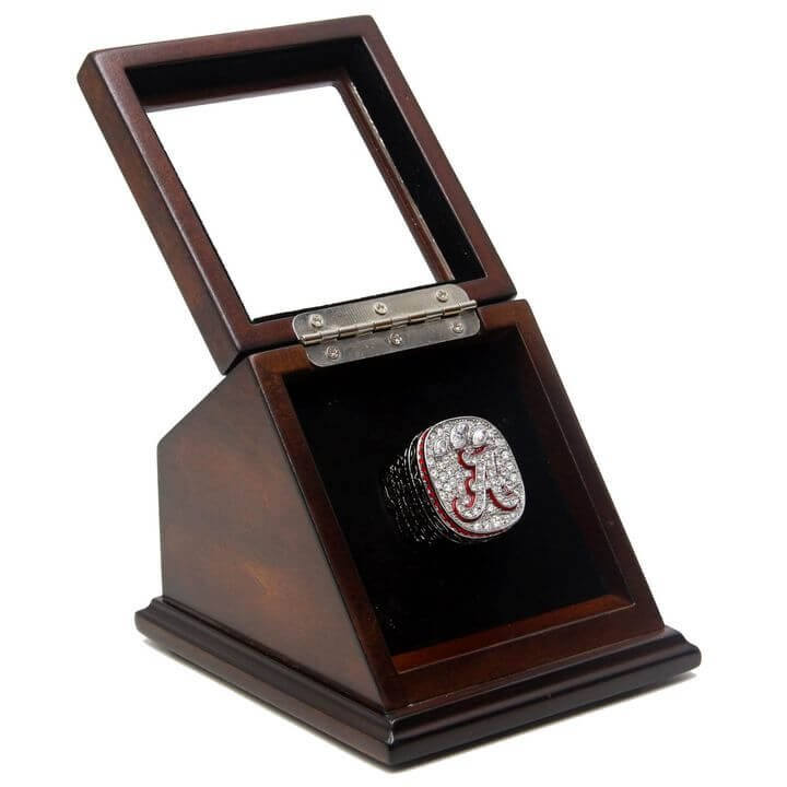 NCAA 2012 Alabama Crimson Tide Championship Replica Ring with Wooden box display Case Size 11