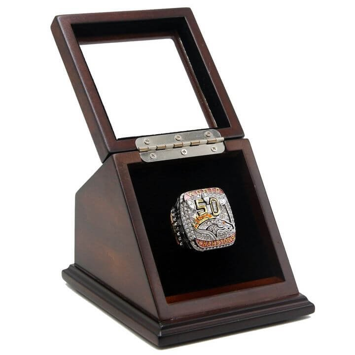Denver Broncos 2015 SB XXXII Replica Championship Rings Size 11 with wooden display Case Box