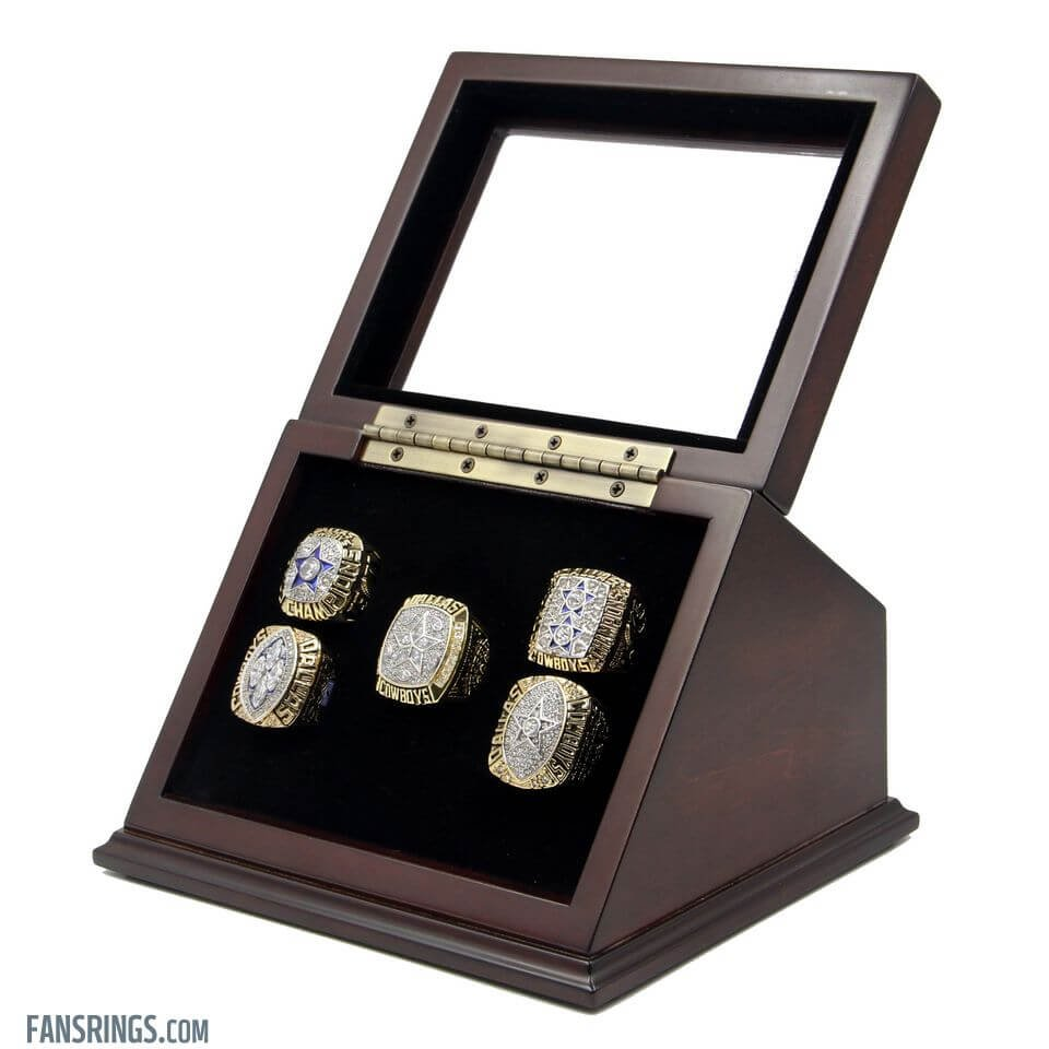 5 Slots Holes Slanted Glass Window Wooden Display Case for Championship Rings