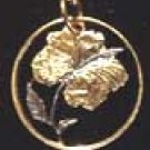 Cut Coin Jewelry - Necklace - Pendant- Hibiscus flower