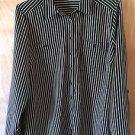 Women's Studio Works Size L Striped Button Down Black & White Dress Blouse Shirt