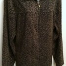 Womens Notations Size 1XL Zip Front Jacket - Black with Brown Speckled Pattern
