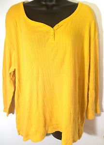 Womens White Stag Size 2XL (20) Long Sleeve Yellow V-neck 3 Button Shirt Blouse