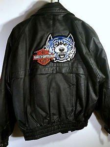 Sergio Vadducci Leather Biker Jacket w/Vtg Harley-Davidson Wolf Patch Sz M Black