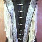 Womens Handmade Leather Halter Motorcycle Biker Blk,Silver w/Snakeskin SZ S, M