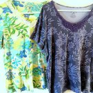 Lot of 2 Womens White Stag Size 1X Floral Shirts Blouses - Blue White Lace Beads