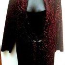 Notations Pls 3X Mock 2fer Surplice Top Dressy Sparkly Red Black Stretch Velour