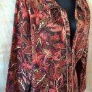 Women's CHRISTOPHER & BANKS Brown Orange Floral Leaf Lined Zip-Up Jacket Size L