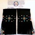 Native American Cabaretta Leather Wristbands w/fringe, turquoise stones, conchos