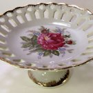Napco pedestal dish hand painted with gold trim