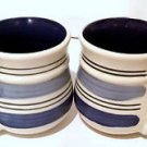 Set of 2 Pfaltzgraff RIO BLUE coffee mugs stoneware blue bands & interior 12 oz