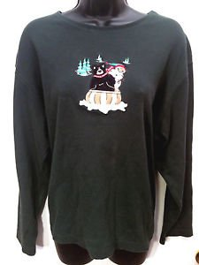 WOMENS CROFT & BARROW SWEATER SIZE 3X - GREEN WITH CHRISTMAS SNOWMAN & BEAR