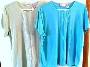 LOT OF 2 Womens JACLYN SMITH Stretch Shirt Top Blouse Sz XL Light Green & Teal