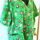 Womens UA Scrubs Top Sz XL SS Green Penguins Snowmen Reindeer Christmas Trees