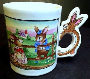 Easter Coffee Mug with Bunny Shaped Handle - Bunny kids playing on fence - EUC!