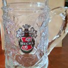 "Becks Beer Very Heavy 5.25"" Tall Glass Mug Stein Ornate Grape Design Germany"