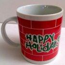 VINTAGE 1986 HAPPY HOLIDAYS RED BRICK CHRISTMAS HOUSTON FOODS HOT COFFEE TEA MUG