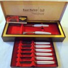 COLLECTIBLE VINTAGE REGENT SHEFFIELD 6 STEAK KNIVES AND 2 PIECE CARVING SET GOOD