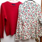 LOT OF 2 Womens Basic Editions Holiday Sweaters Size XL/1X Cream Holly Leaf, Red