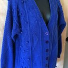 Womens WORTHINGTON Blue Button Up Crocheted Cotton Cardigan Sweater Size Small