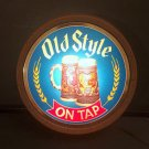 Vintage 1983 Old Style ON TAP Light Up Barrel Sign - 2 Steins 'Drink with Style'