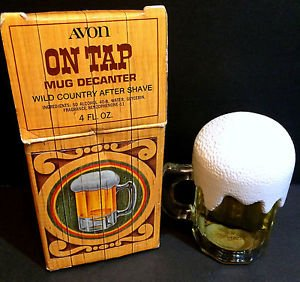 Vintage Avon On Tap Mug Decanter, Wild Country After Shave 4 oz NIB