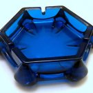 Viking Art Glass Epic Mid-Century Mod Vintage Blue Glass Party Ashtray - RARE!!