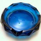 "Vintage Bluenique Glass Diamond Cigar 6"" Ashtray by Viking Art Glass"