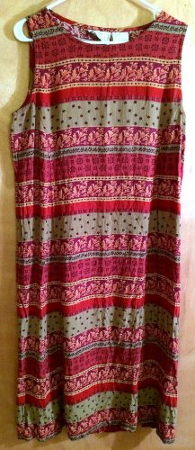ERIKA STUDIO Size XL Maxi Dress Sleeveless Striped Floral Paisley Crinkle Fabric