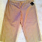 NWT! Womens Apostrophe Sz 20W Striped Brown Beige Capris - Stylish Casual Dress!