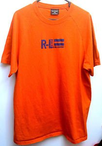 Polo Ralph Lauren Mens Size Large Orange T-shirt with Blue Graphic Logo Crewneck