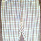 NWT! Womens St. Johns Bay Sz 22W Lt Brown Plaid Capris - Stylish Casual Dress!
