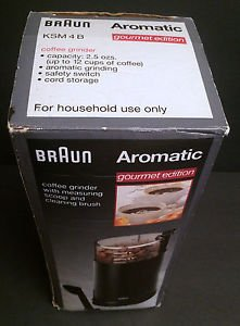 BRAUN Aromatic Coffee Grinder KSM4B Black Gourmet Ed w/Box, spoon/brush & manual