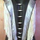 Womens Handmade Leather Halter Motorcycle Biker Slvr Blk Fringe Snakeskin Sz S,M