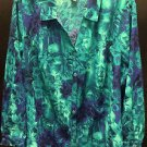 Maggie Barnes Blue Green Button Down LS Blouse Crinkle Floral Design Plus Sz 3X