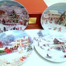"HTF NIB! Lenox American Christmas Set-4 Salad Dessert Holiday Plates 8 5/8"" RARE"
