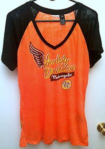 Womens Harley Davidson XL Shirt Orange Black Jeweled 03' Style 96358-13VW, NWOT!