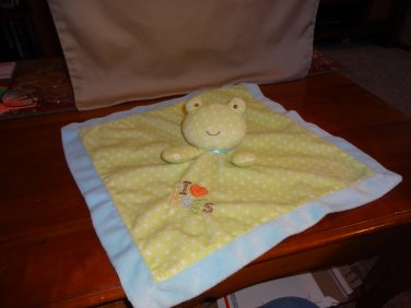 Carters Just One Year I Love Hugs Blue Green Dots Frog Baby Security Blanket