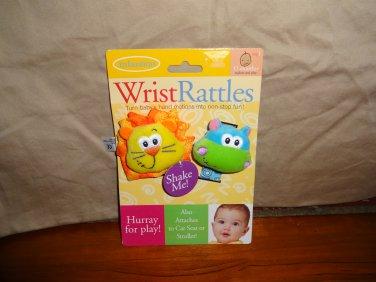 NWT Infantino Wrist Rattles Lion Hippo Plush Baby Infant Toys Farm Animals