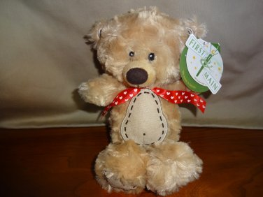 """NWT First and Main 10"""" Tan Teddy Bear Stitche Adorable Small Lovey"""
