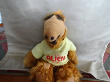 """Coleco 1988 Alf 11"""" Plush """"Its All Alien to Me"""" Yellow Shirt Stuffed Animal Toy"""