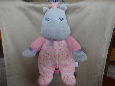 Garanimals Musical Plush Hippo Lovey Crib Toy Pink Dots Go To Sleep Little Baby